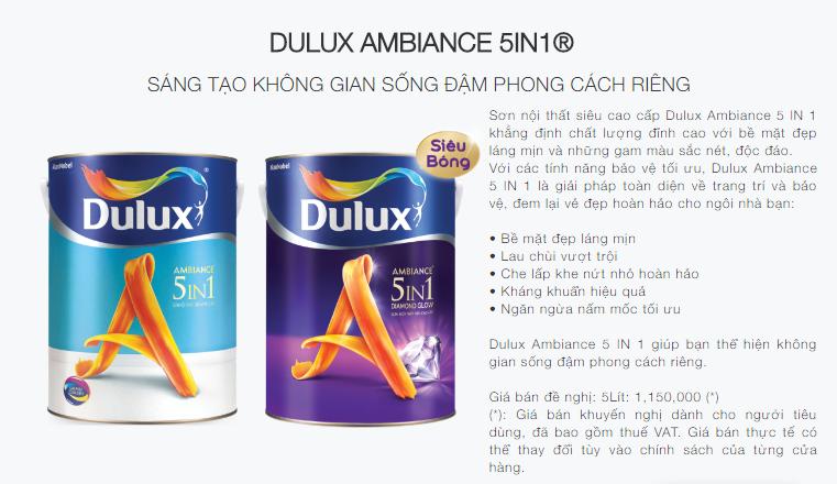 bảng màu sơn dulux 5 in 1