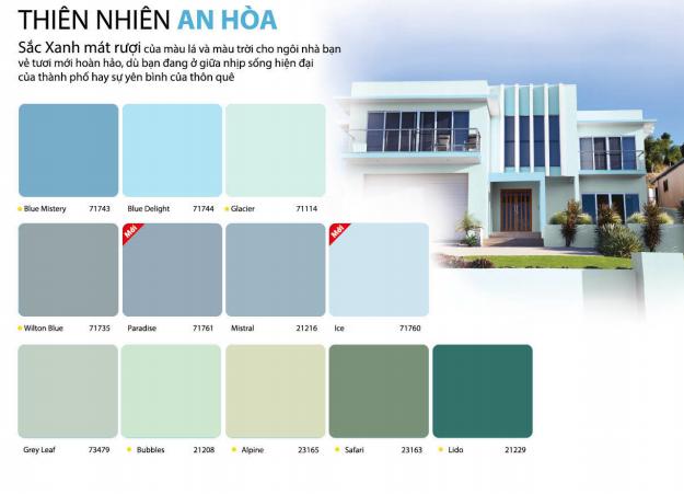 bảng màu sơn dulux weathershield trong nhà